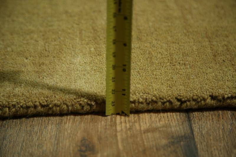 Modern Solid Gold Gabbeh Indian Oriental Hand-Knotted Area Rug Wool 3x5