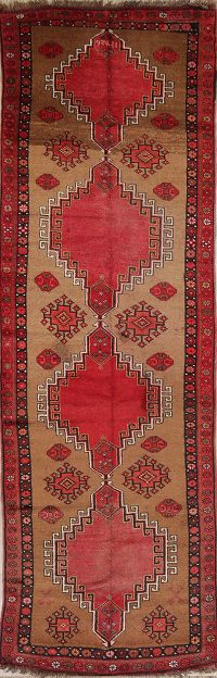 Geometric Tribal  4x13 Kazak Turkish Oriental Rug Runner