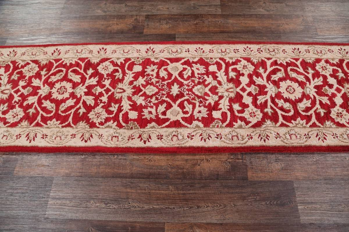 Floral Red Oushak Agra Indian Oriental Hand-Tufted Runner Rug Wool 2x10