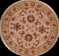 Hand-Tufted Floral 10x10 Oushak Agra Oriental Round Rug