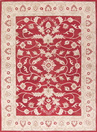 Floral Red Oushak Kashan Oriental Hand-Tufted Area Rug Wool 7x10