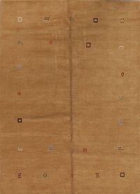 Gold Color Gabbeh Indian Oriental Modern Area Rug 6x8