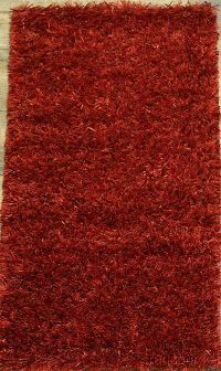 Solid Red Plush Shaggy Shag Oriental Rug 2x4