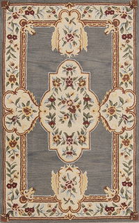 Hand-tuftrd Aubusson Floral Oriental Area Rug 5x8