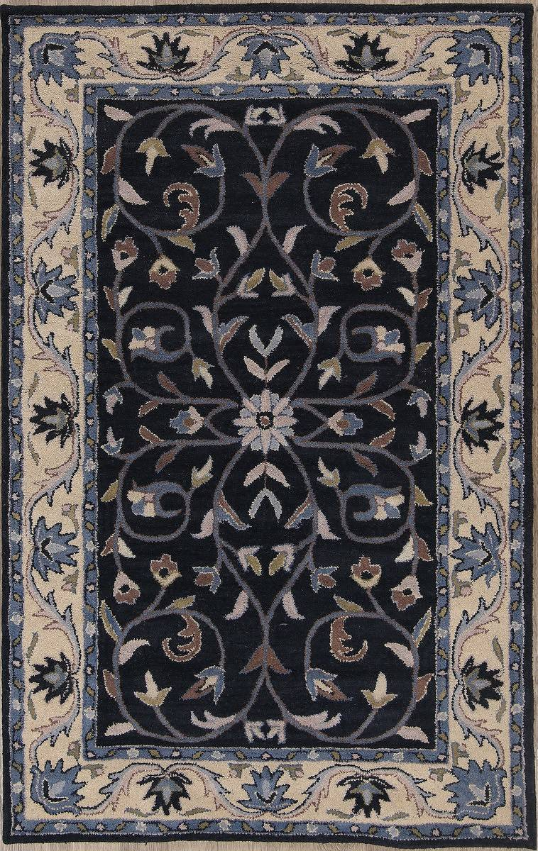 Floral Navy Blue Oushak Indo Oriental Hand-Tufted Area Rug Wool 5x8
