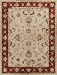 Hand-Tufted All-Over Ivory Oushak Oriental Area Rug 12x16