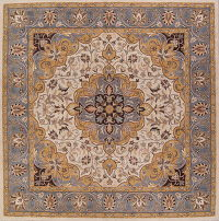 Square Floral Ivory Oushak Oriental Hand-Tufted Area Rug Wool 12x12