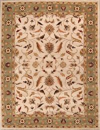 Hand-Tufted Floral Ivory Oushak Oriental Area Rug Wool 10x13