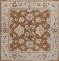 Hand-Tufted Square Brown Oushak Oriental Area Rug 12x12