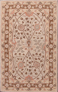 Hand-Tufted Floral Ivory 8x11 Oushak Agra Oriental Area Rug