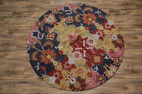 Hand-Tufted Transitional Floral Oushak Oriental Round Rug 8'x8'