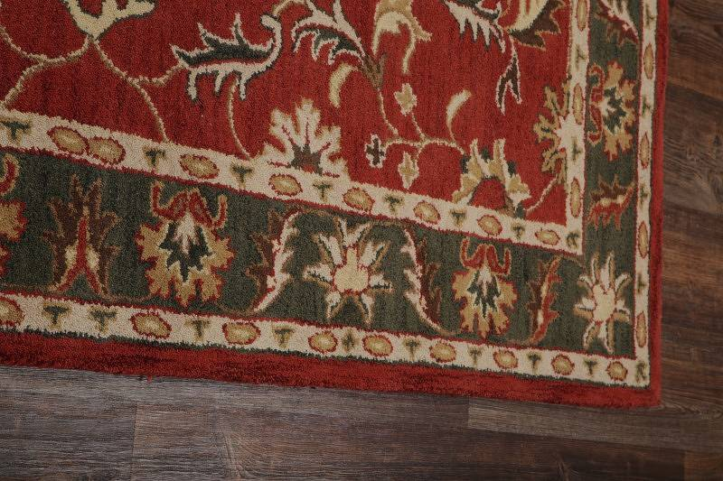 Floral Red Agra Tabriz Indian Oriental Hand-Tufted Area Rug Wool 5x8