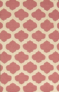 Pink/Ivory 3x5 Moroccan Trellis Oriental Area Rug