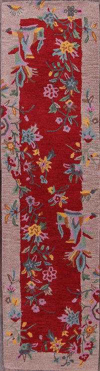 Hand-Tufted Red Transitional Oushak Oriental Runner Rug 3x10