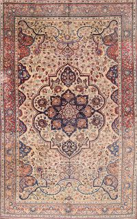 Antique Geometric 7x10 Tabriz Persian Area Rug