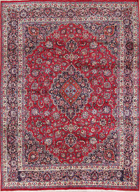 Hand Knotted Floral Red Mashad Persian Wool Area Rug 9x13