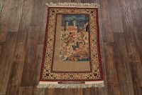 Antique Silk Minatory Signed Seirafian Isfahan Persian Area Rug 4x6