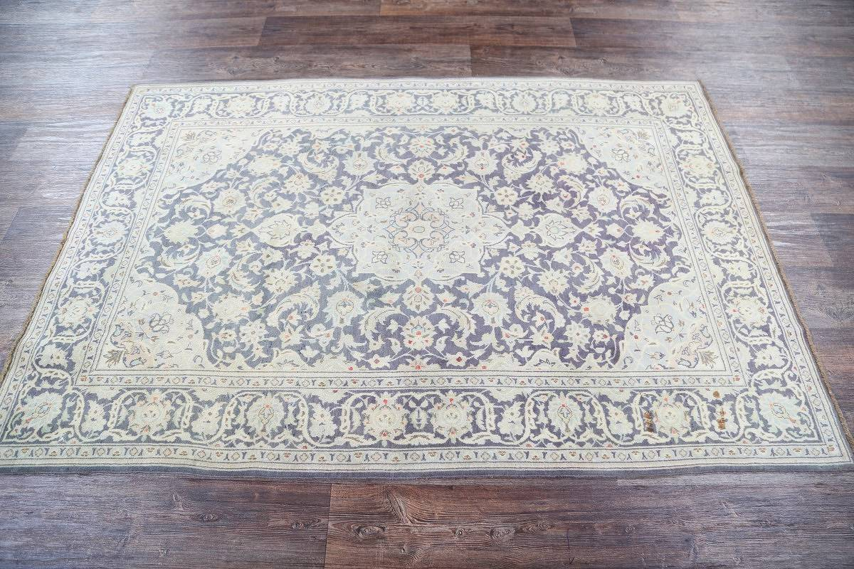 Charcoal Floral 5x7 Kashan Persian Area Rug