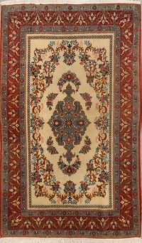 Antique Floral Sarouk Qum Persian Area rug 5x7