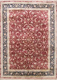 Wool & Silk All-Over Floral 9x12 Kashan Chinese Oriental Area Rug