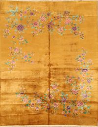 Floral Gold Color 9x11 Art-Deco Nichols Chinese Oriental Area Rug