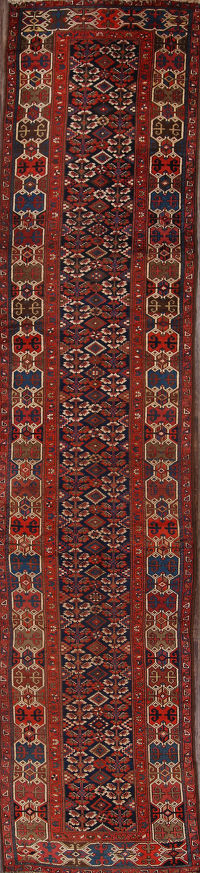 Kazak Caucasian Antique Russian Runner Rug 3x16