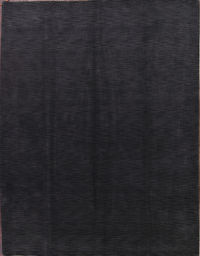 Solid Charcoal Gabbeh Oriental Area Rug 9x12