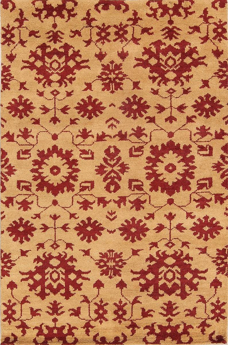Transitional Floral Gold/Red 5x8 Moroccan Oushak Indian Oriental Rug