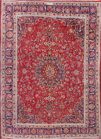 9x13 Red Signed Mashad Persian Area Rug
