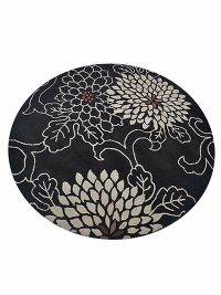 Hand-Tufted Transitional Floral Oriental Black Round Rug 10x10