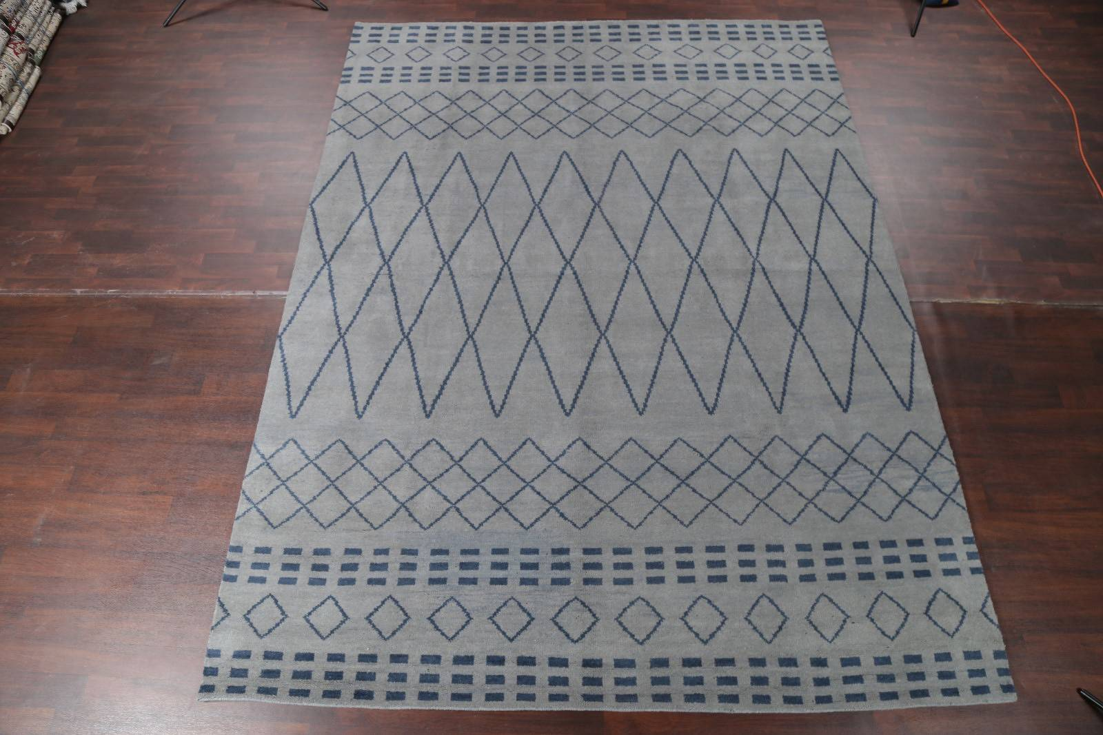 Geometric Oushak Moroccan Oriental Hand-Knotted Area Rug Wool 10x14