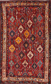 Vegetable Dye Antique Kashkoli Shiraz Persian Area Rug 5x8