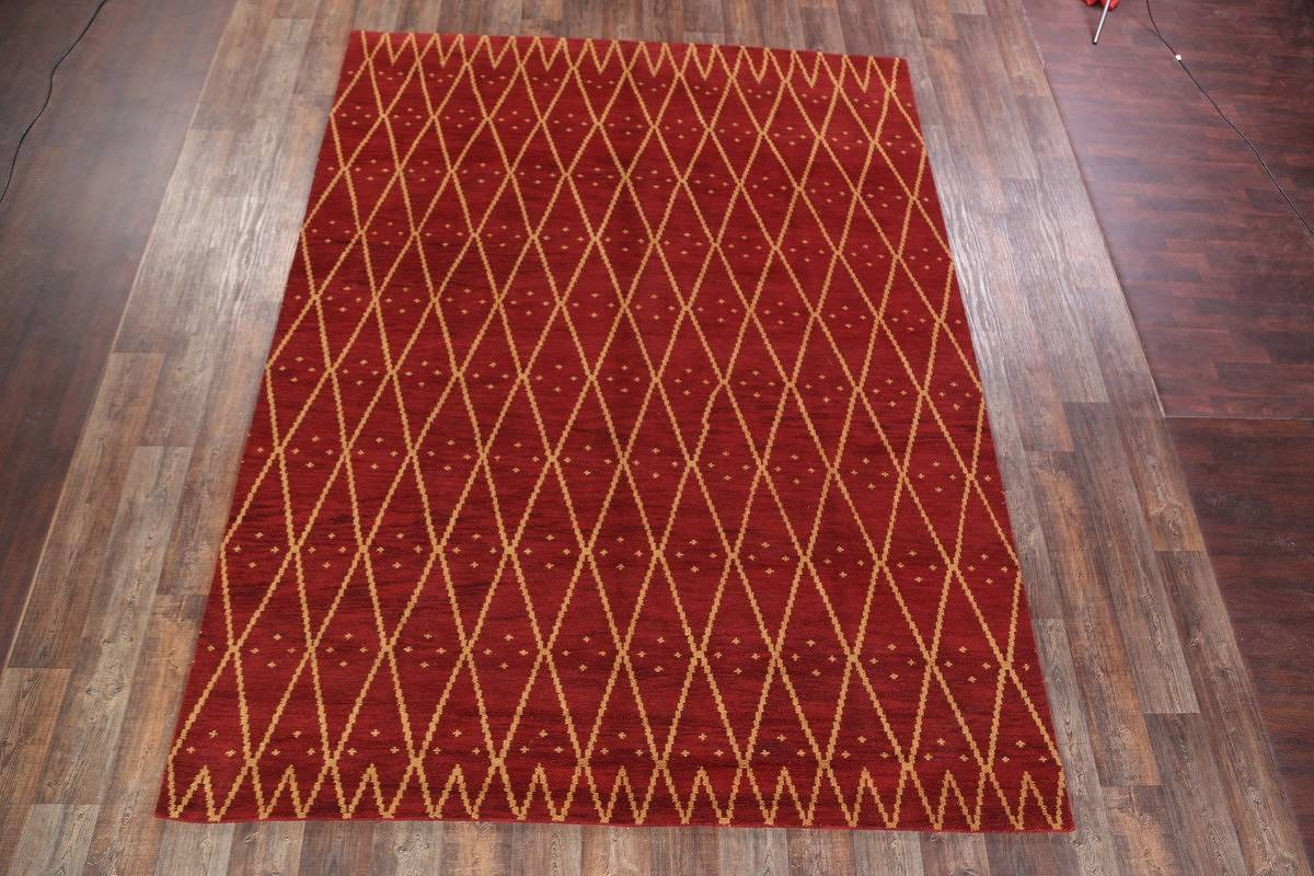 Geometric Moroccan Trellis Oushak Oriental Hand-Knotted Area Rug Wool 9x12
