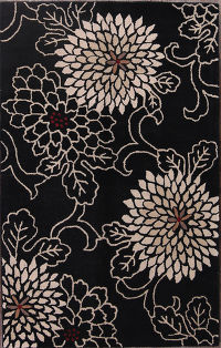 Hand-Tufted Transitional Black Oriental Area Rug 5x8