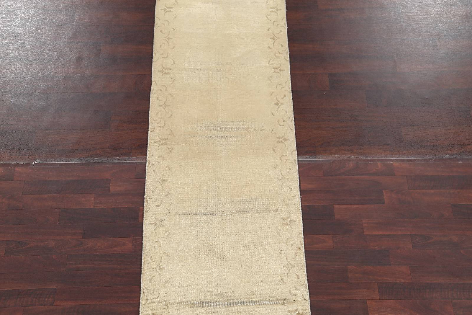 Solid Tabriz Persian Hand-Knotted Runner Rug Wool 3x13