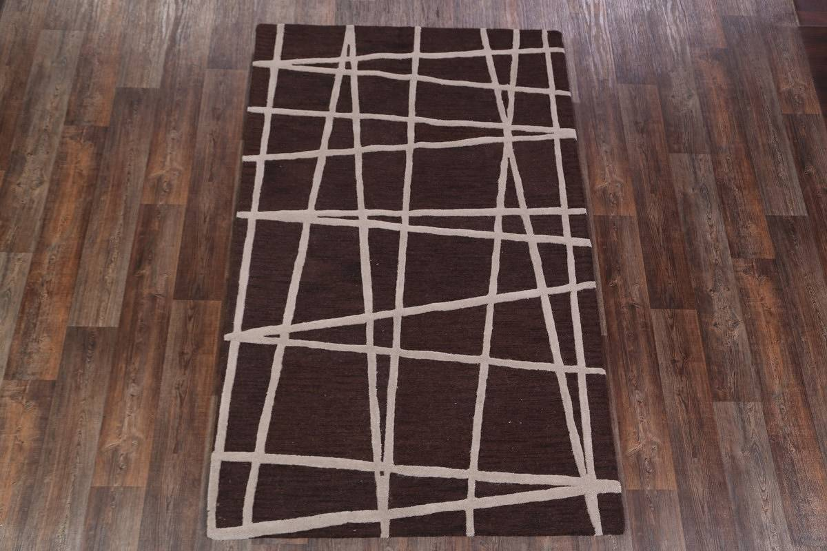 5x8 Dark Brown Oushak Oriental Area Rug