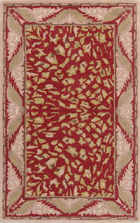 Red Animal Print Oushak Oriental Area Rug 5x8