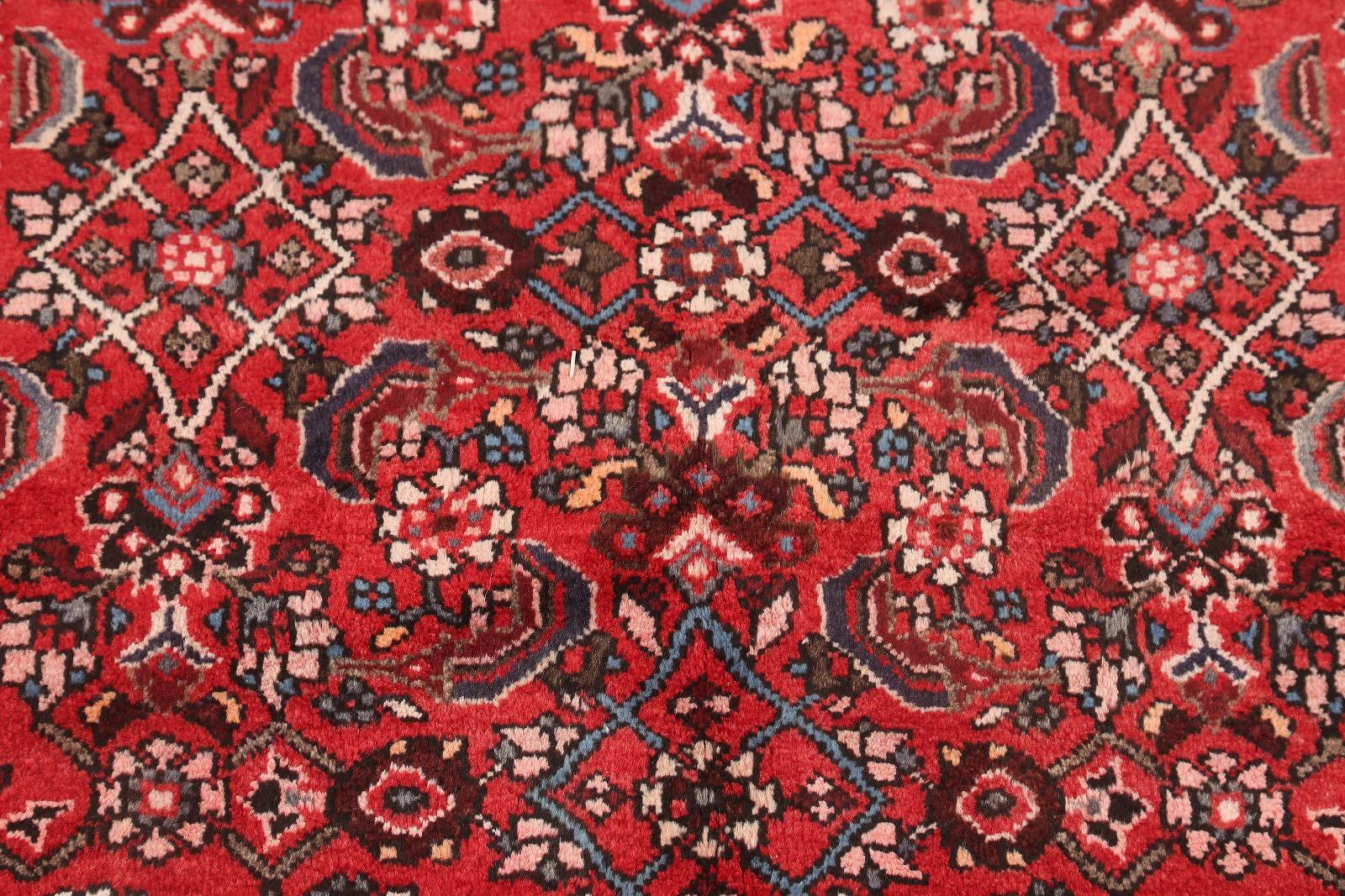 Geometric Red Hamedan Persian Hand-Knotted Runner Rug Wool 4x11