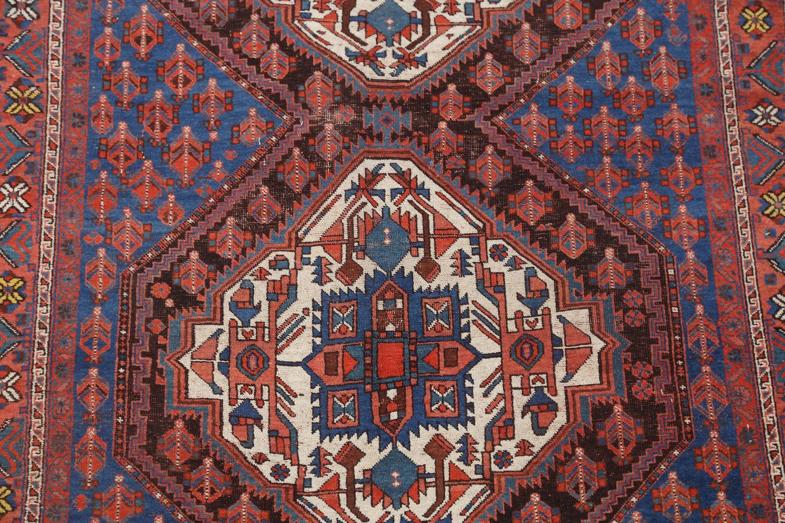 Pre-1900 Geometric Antique Afshar Sirjan Persian Area Rug 5x6