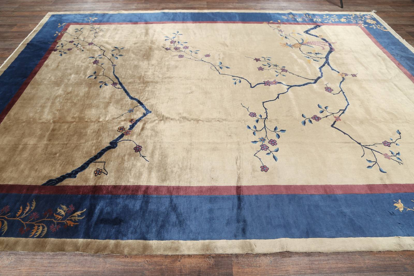 Art Deco Nichols Chinese Oriental Hand-Knotted Area Rug Wool 10x13