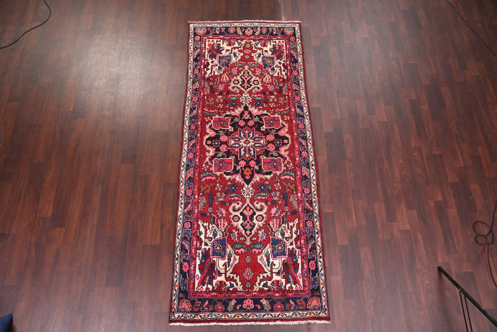 Geometric Medallion Red Bakhtiari Persian Hand-Knotted Runner Rug Wool 4x9