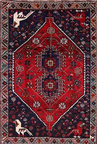 Tribal Geometric Red Qashqai Shiraz Persian Hand-Knotted Area Rug Wool 5x8