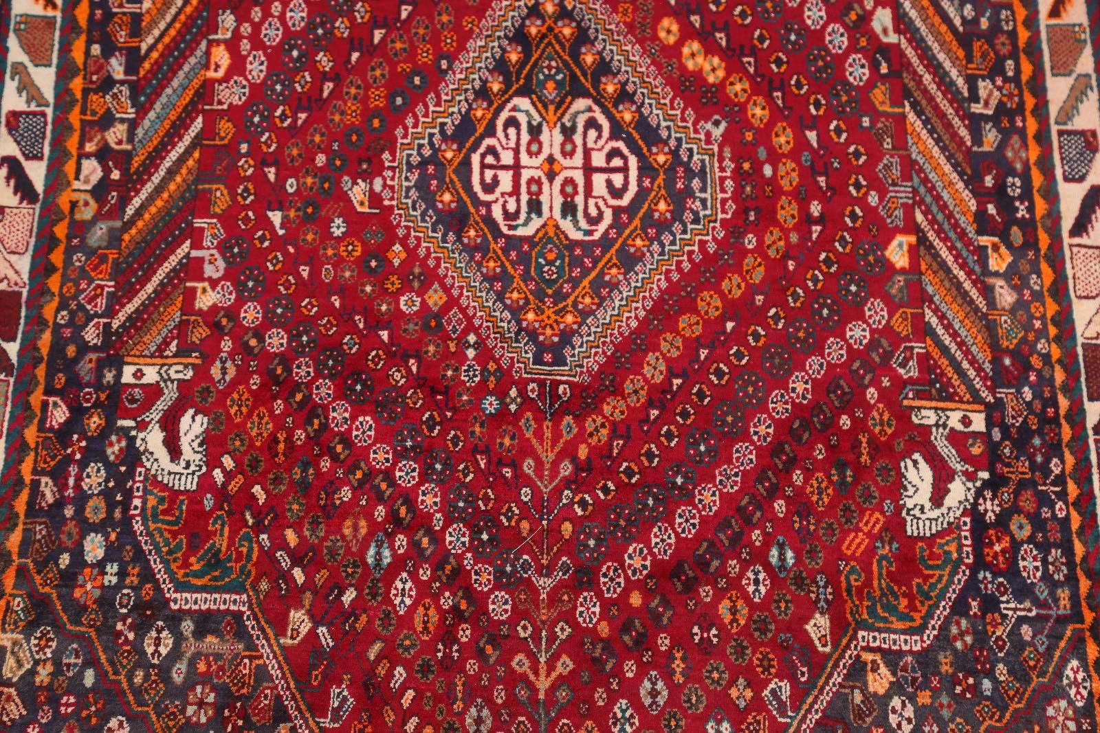 Geometric Tribal Abadeh Shiraz Persian Area Rug 6x9
