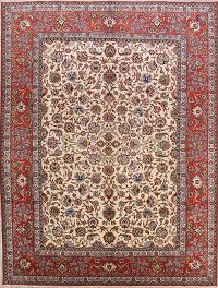 Floral Ivory 10x14 Isfahan Vegetable Dye Persian Area Rug
