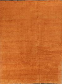 Thick Solid Orange Gabbeh Shiraz Persian Hand-Knotted Area Rug 8x11