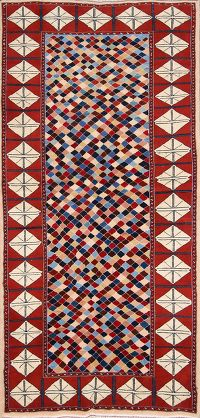 Checked Kashmar Persian Runner Rug 3x7