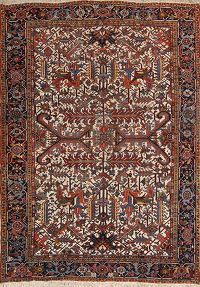 Heriz Serapi Persian Antique Ivory Area Rug 8x11