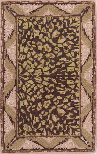 Hand-Tufted Oushak Leopard Oriental Area Rug 5x8