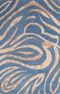 Zebra Blue Animal Print Oushak Oriental Area Rug