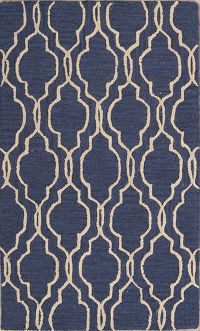 Geometric Blue/Ivory Trellis Indian Oriental Area Rug